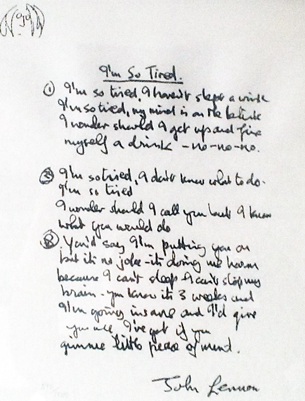 Beatle Years, Set of 10 Lyrics 1996