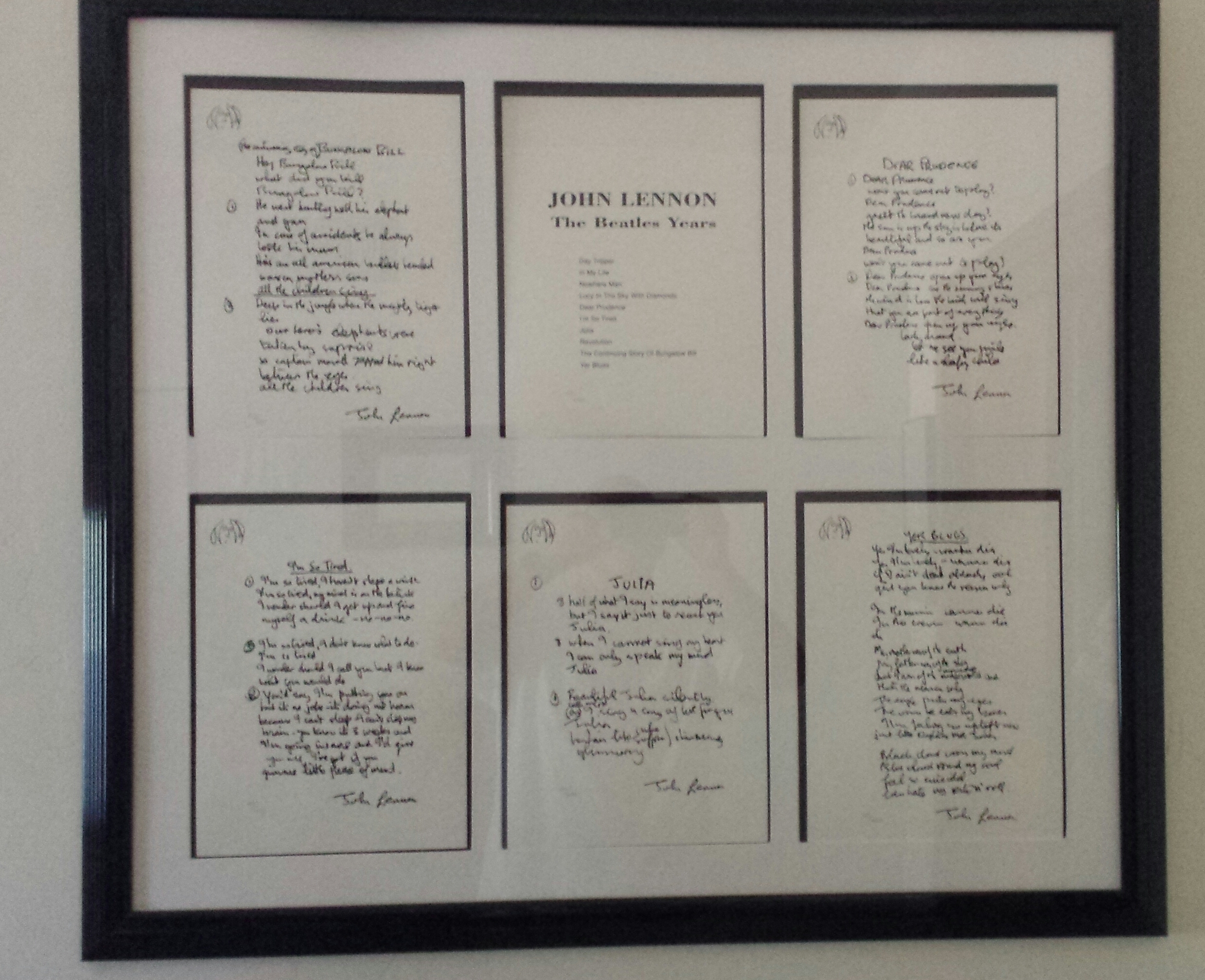 Beatle Years, Set of 12 Lyrics 1995