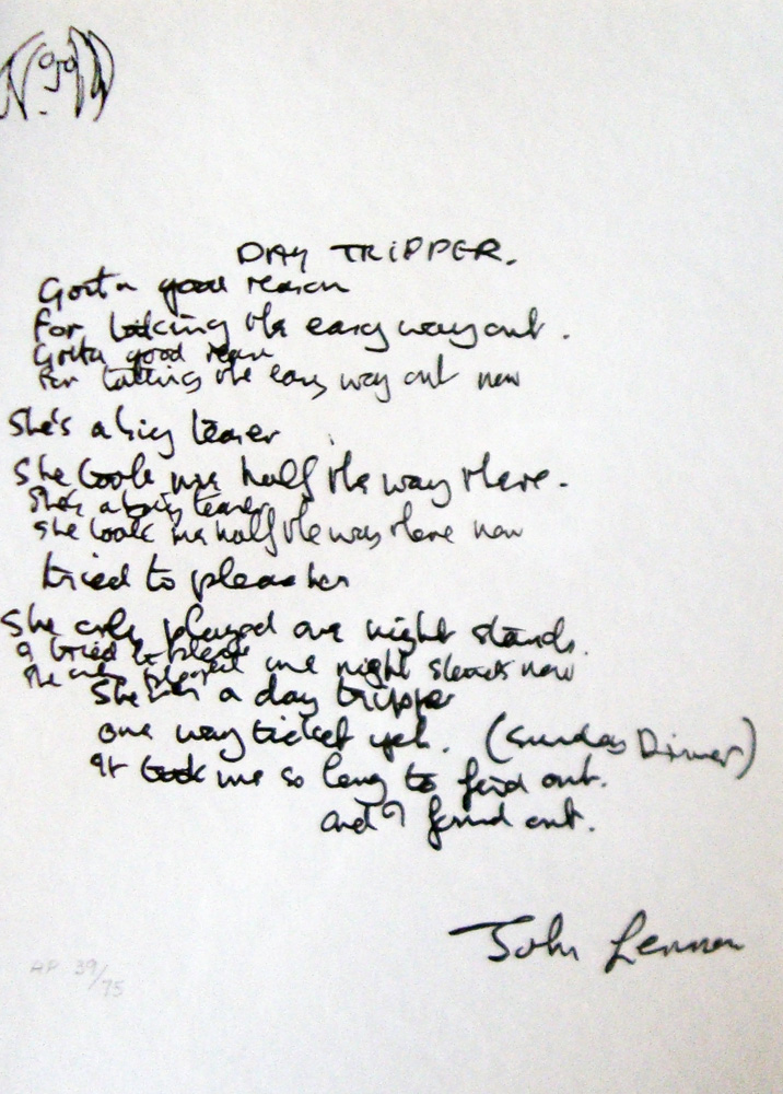 Lyrics: Day Tripper AP 1995