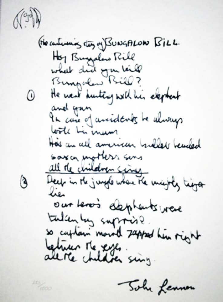 Bungalow Bill Lyrics 2001