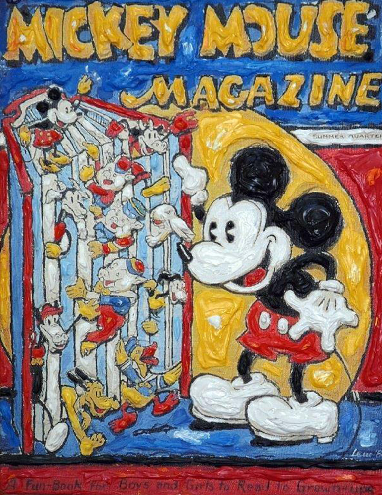 Reading Mickey Monotype 2011 14x18 by Leslie Lew