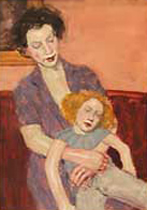 Mother and Doll Watercolor  2000 25x23