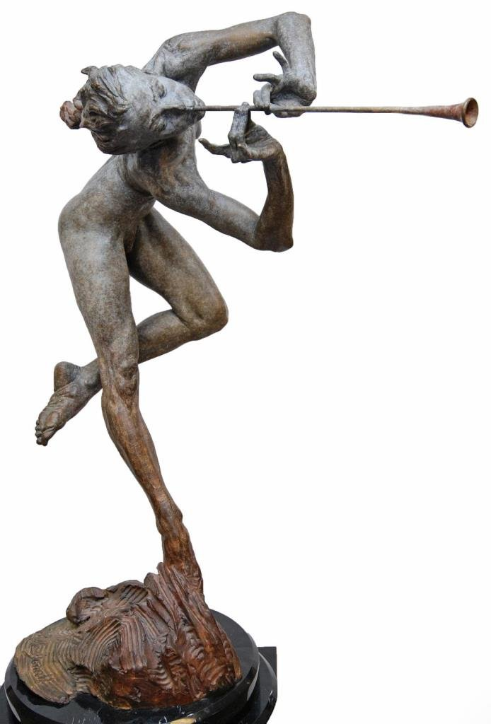 Trumpeter Bronze Sculpture  1/2 Life Size 1994 Nude 41 in