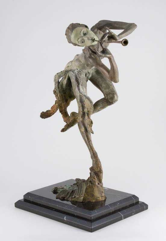Trumpeter Bronze Sculpture 19 in
