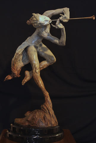 Trumpeter  Draped Half Life Bronze Sculpture 1993
