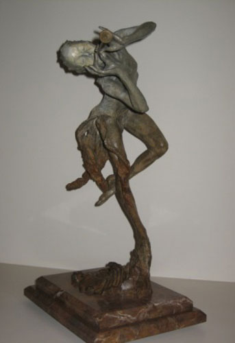 Trumpeter Bronze Sculpture 1993