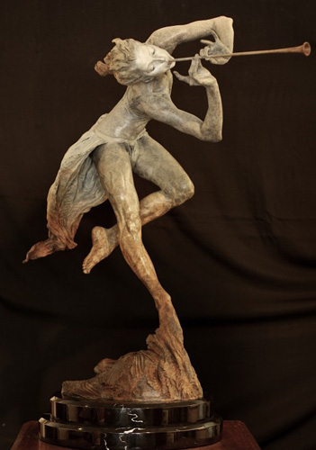 Trumpeter Bronze Sculpture  1/2 Life Size  (Draped) 1996 38 in