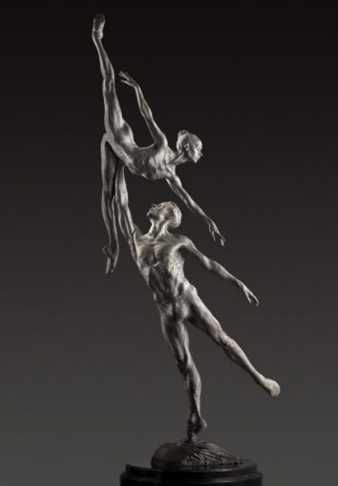 Penche Pressage 1/3 Life Size Platinum and  1/4 Life Chroma Sculpture 2011 104 in