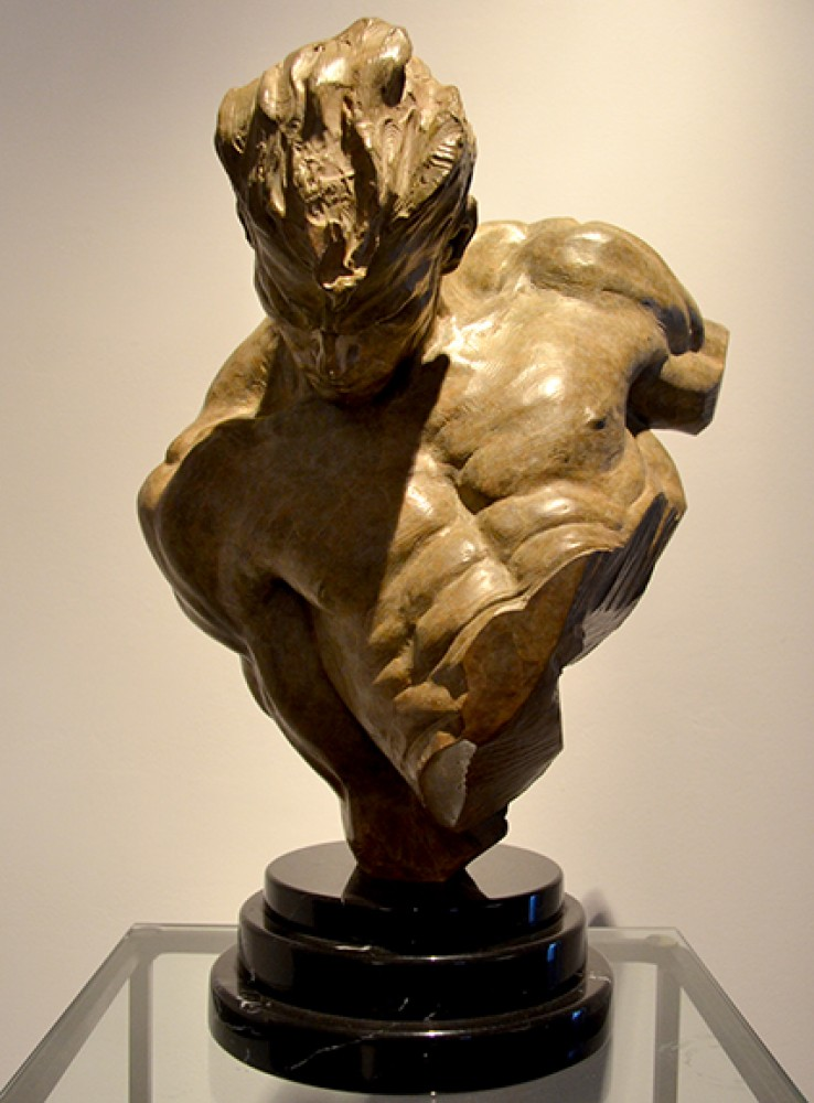 Gymnast Bust 1/2 Life Size Bronze Sculpture 1995 19 in