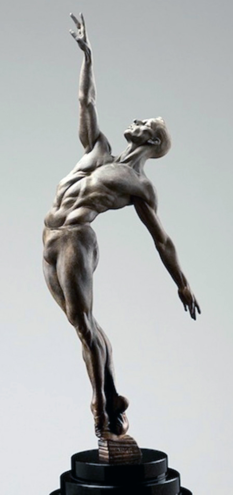 Allonge 1/2 Life Size Male Bronze Sculpture 2013 67 in by Richard MacDonald