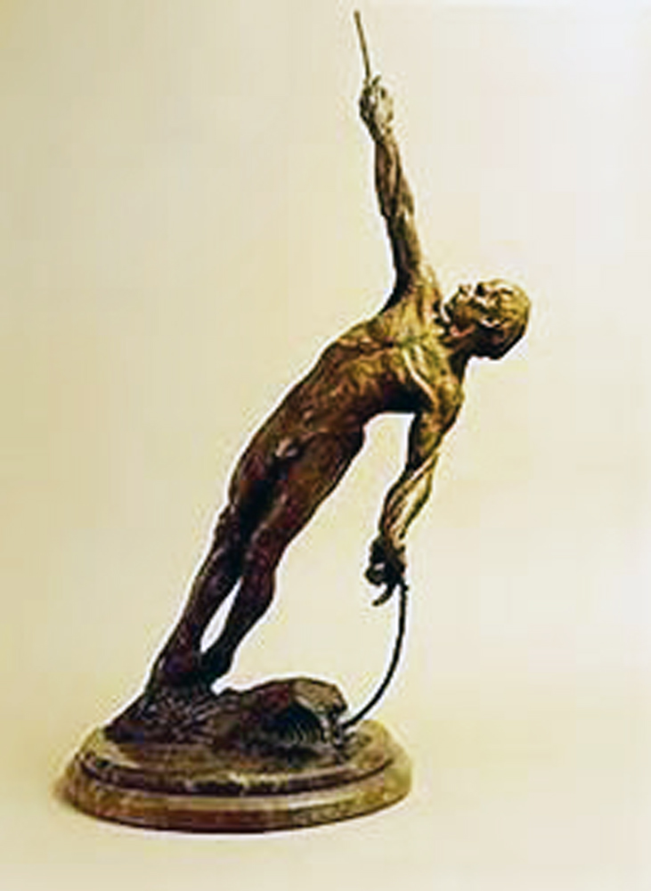Man on a Rope Bronze Sculpture 2002 36 in