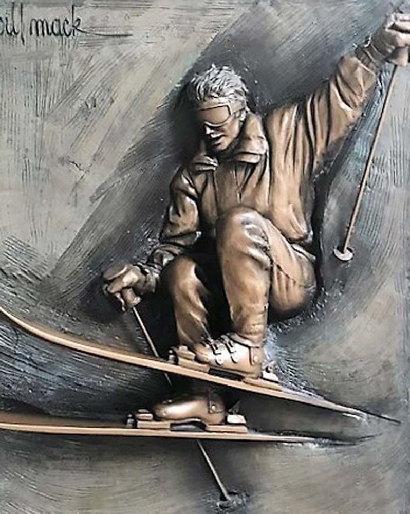 Classic Skier Bonded Bronze Sculpture 46 in