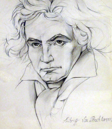 Beethoven Musicmaster Study  1984 Drawing