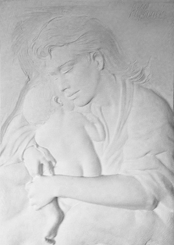 Mother And Child Bonded Sand Sculpture
