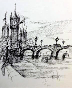Westminster Bridge Drawing 2013 13x11