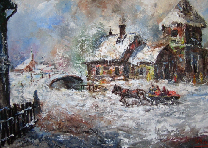 Snowy European Winter Landscape 33x45