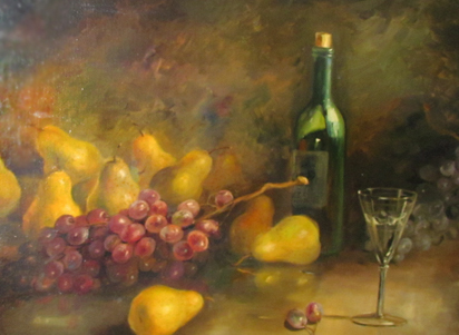 Untitled (Still Life Painting of Wine Bottle, Glass, And Fruit) 32x44