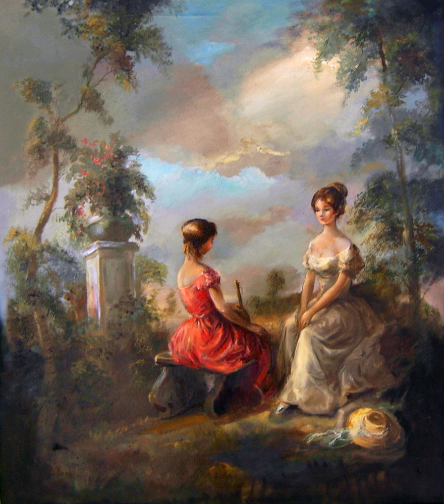 Girls in Garden 37x33