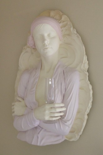 Champagne Glass Plaster Wall Sculpture 1990 36 in