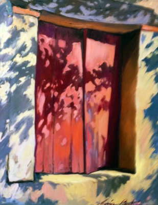 Oil on Linen Red Window 46x38