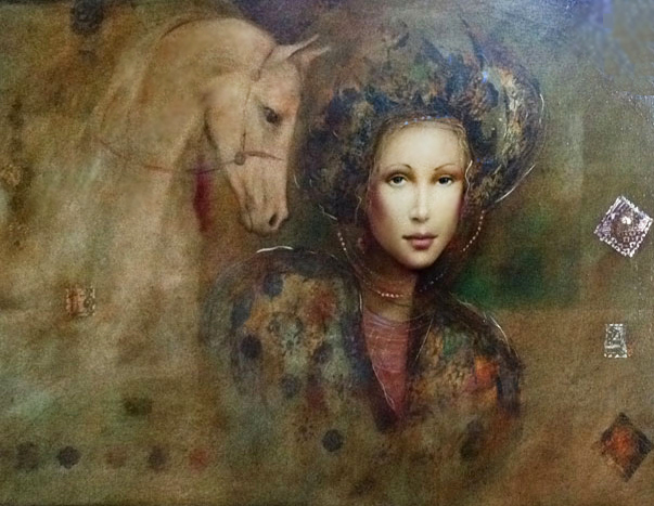 Untitled Woman With Horse 34x57