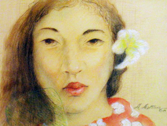Hawaiian Girl Pastel  1984