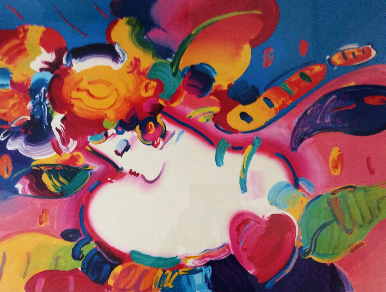 Flower Blossom Lady II, Unique Remarque 1998 by Peter Max