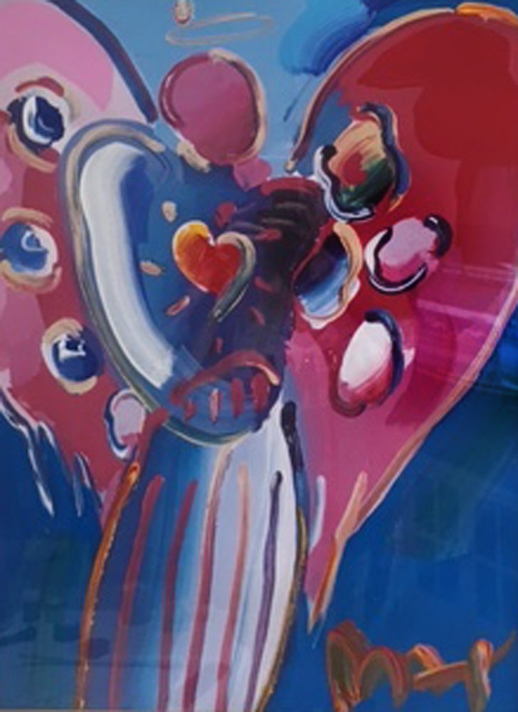 Angel With Heart Unique 2000 28x21 by Peter Max