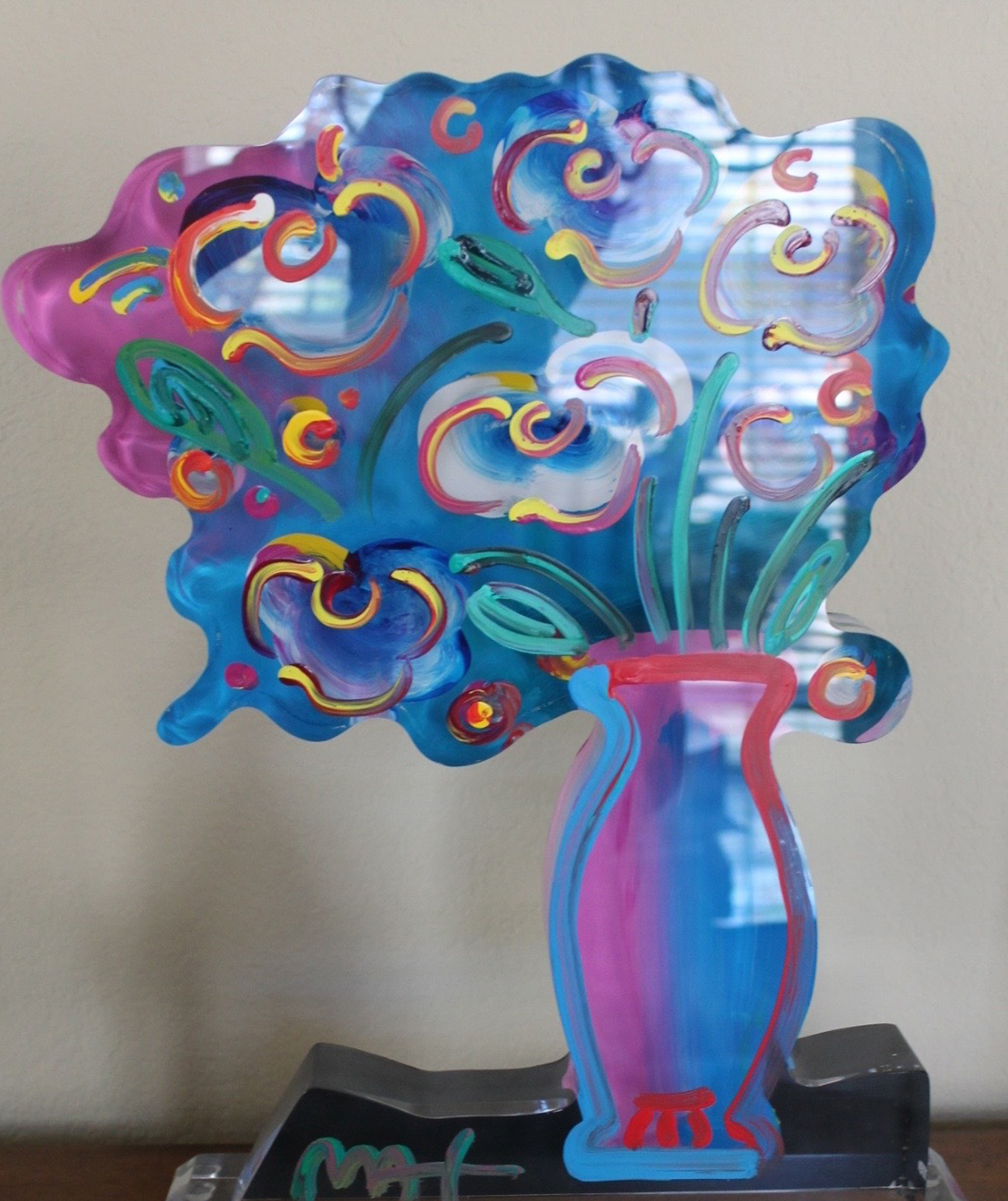 Vase of Flowers Acrylic Sculpture Unique 2015 16 in