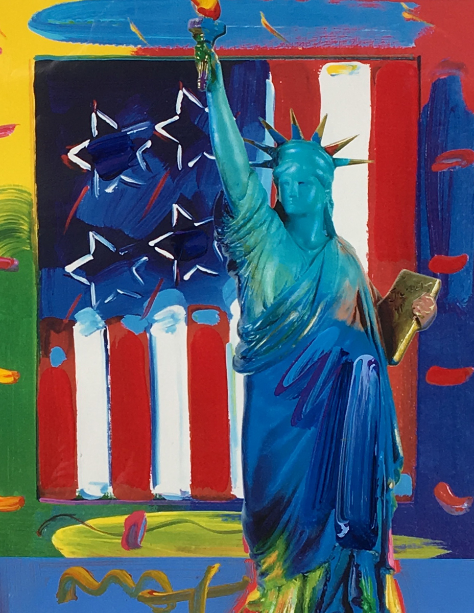 Patriotic Series Liberty And Flag Unique 2006 19x15 by Peter Max