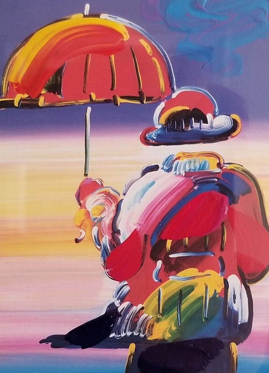 Umbrella Man on Blends Unique 2005 10x8 by Peter Max