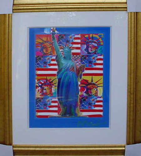 Gold Bless America with Five Liberties Unique 24x18