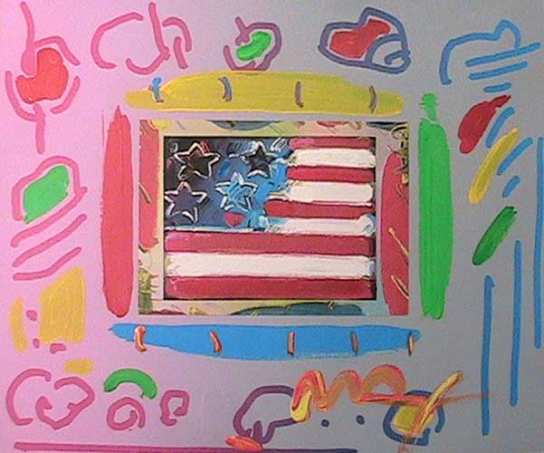 Flag with Heart Unique 12x14