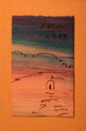 Zen Boat on Pink Watercolor 1987