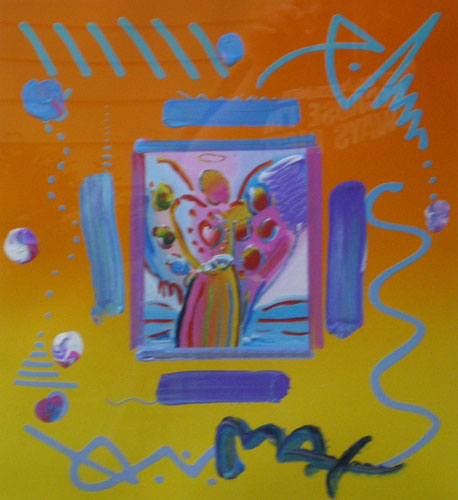 angel with heart collage version ii 1998 by peter max works on paper not prints mixed media. Black Bedroom Furniture Sets. Home Design Ideas