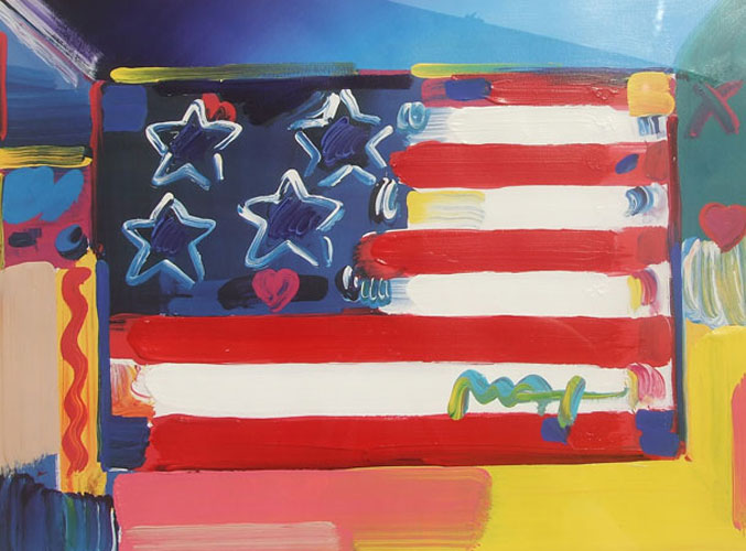 American Flag with Heart 1999 Unique 30x36