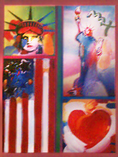 Patriotic Series: 2 Liberties, Flag, and Heart 2006 32x28