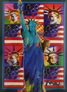 God Bless America III 2005 38x31 by Peter Max