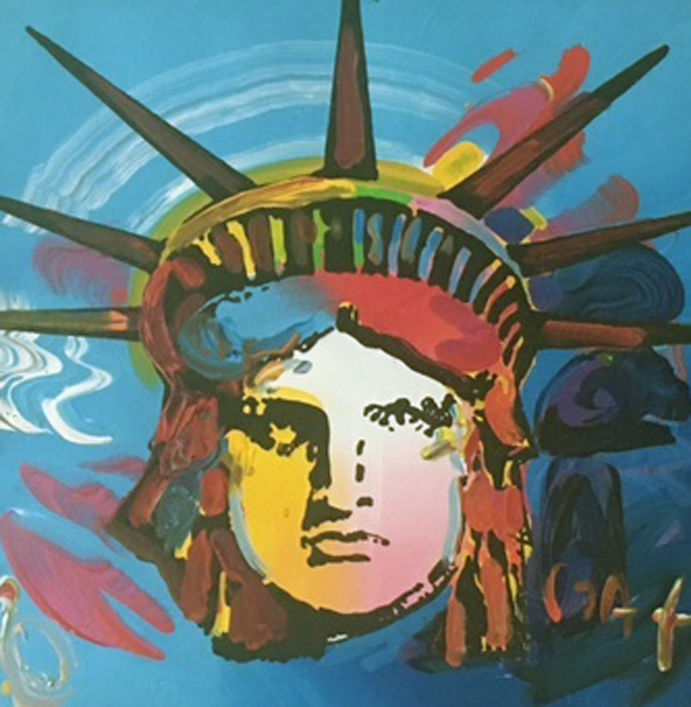Statue of Liberty  Unique 1994 13x13 by Peter Max