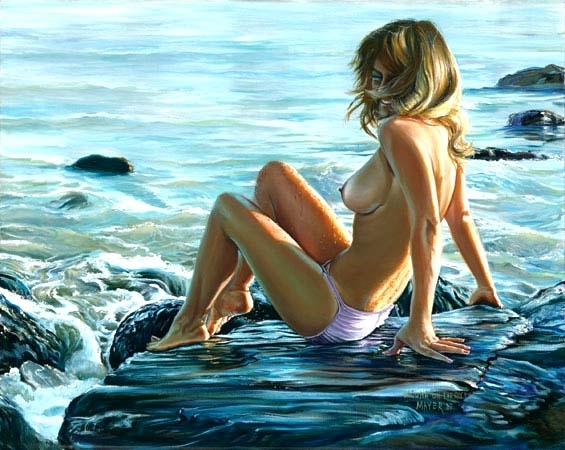 Laguna Beach on the Rocks (Nude) 1982 30x46