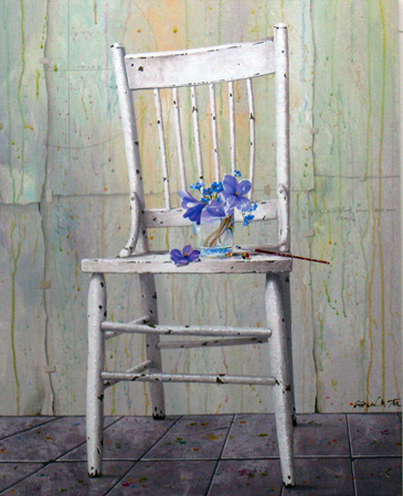 Blue Bouquet on Chair 2009 30x24