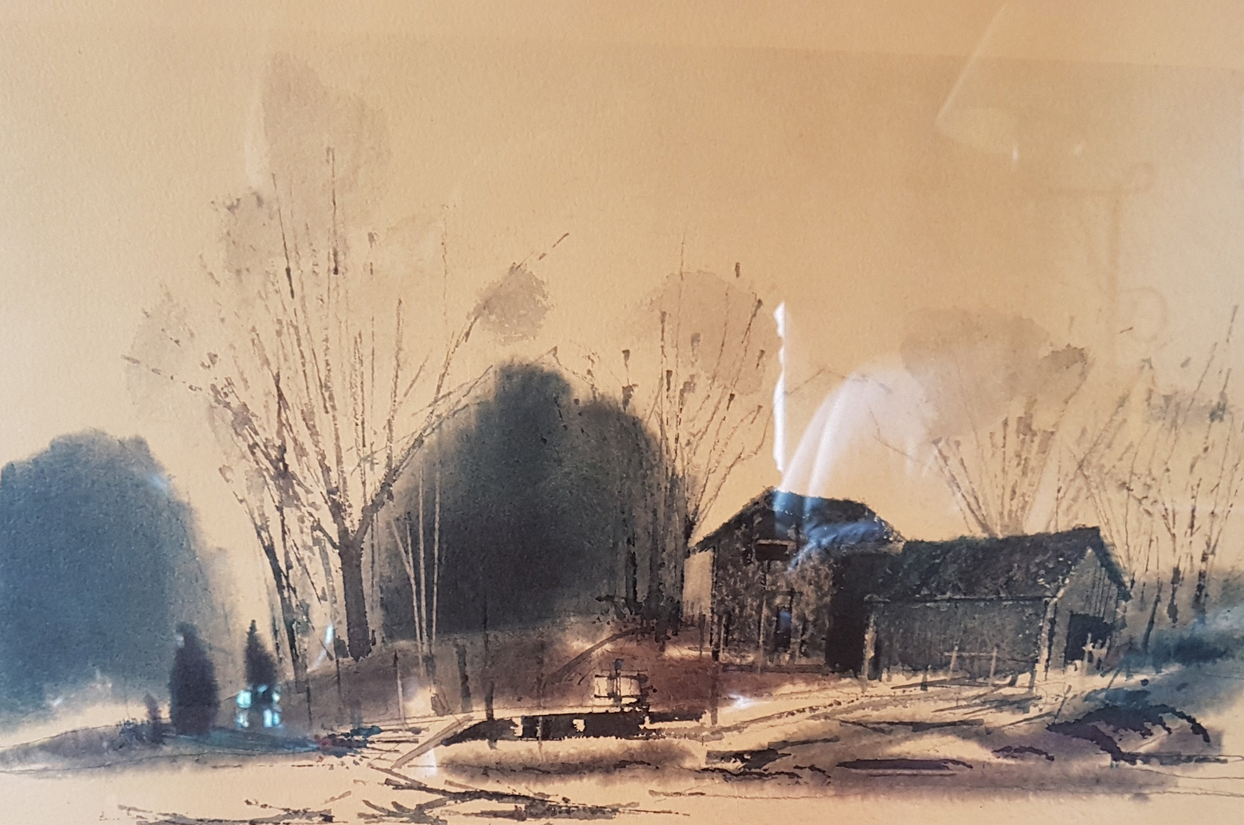 Untitled (Farmhouse With Bridge) Watercolor 1966 21x28