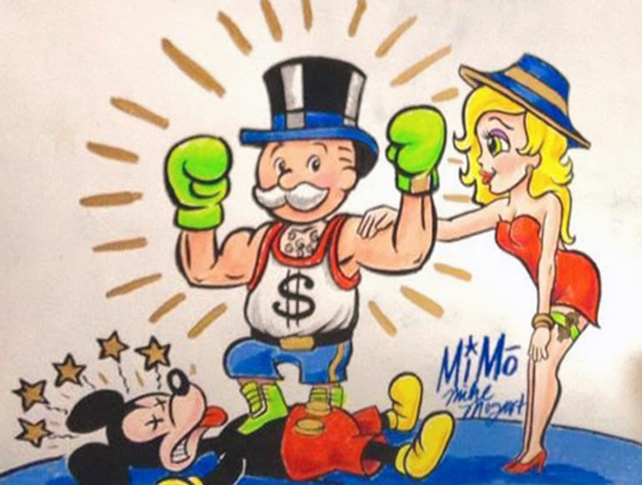 Mimo Monopoly Man Boxing Mickey Unique 2013 15x13