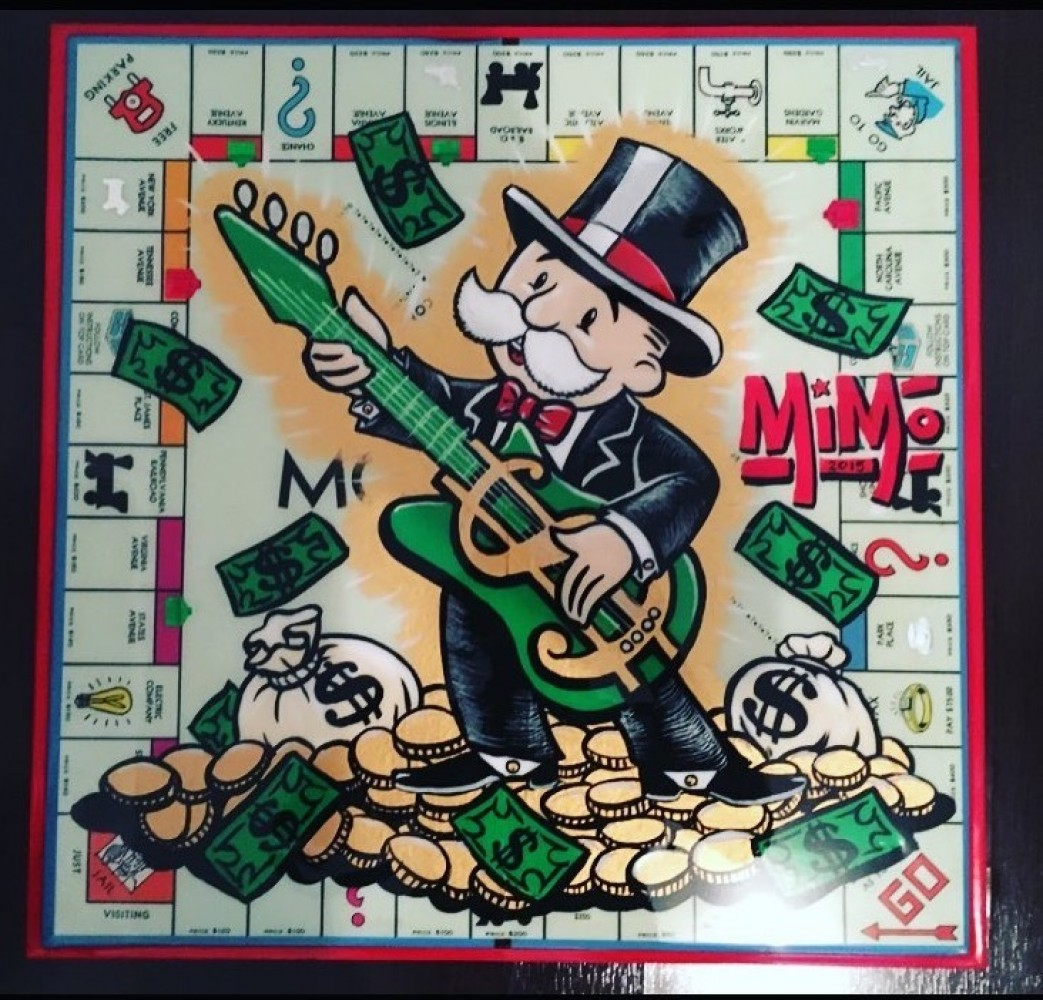 Mr Monopoly on Vintage Monopoly Board 2016 20x20