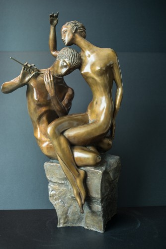 Flute Player Bronze Sculpture 1999 22 in
