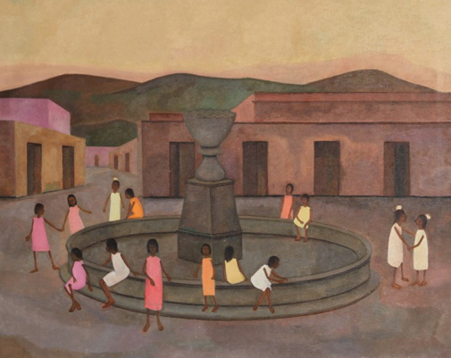 Children Around Fountain 28x31 by Gustavo Montoya