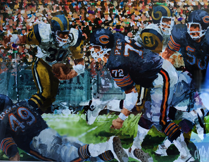 Chicago Bears NFC Championship Game, Set of 2 Watercolor 1986 20x16