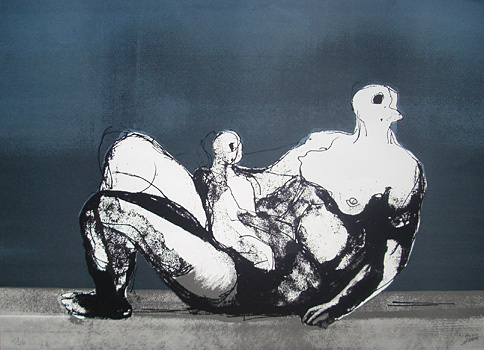 Reclining Mother And Child With Blue Background 1983