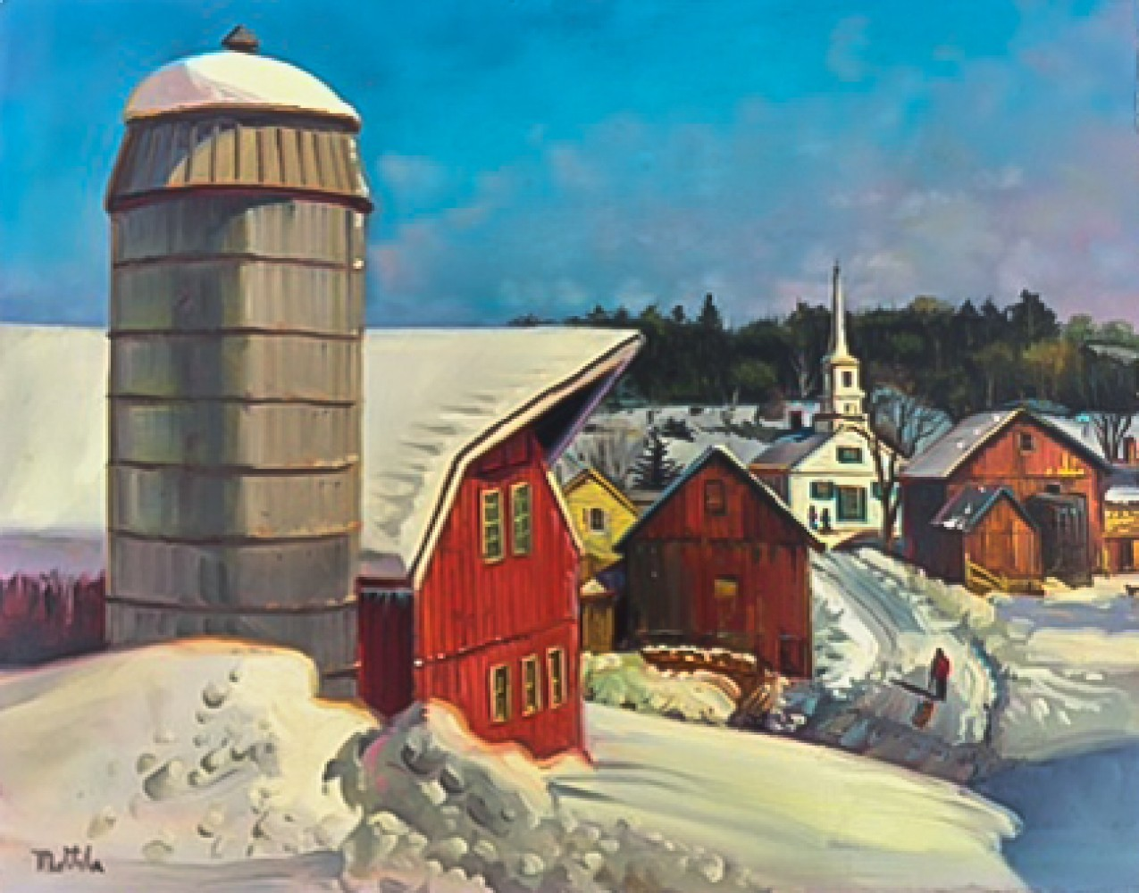 Vermont Village in Winter 1979 11x14