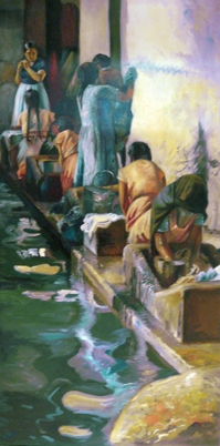 Washwomen of Tasco, Mexico 57x34